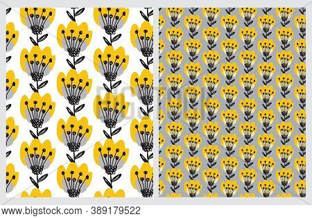 Cute Floral Seamless Vector Patterns With Hand Drawn Yellow Flowers And Black Twigs Isolated On A Wh