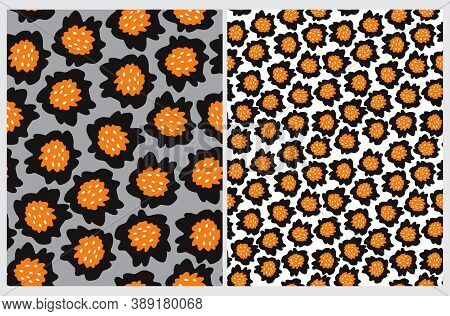 Cute Floral Seamless Vector Patterns With Hand Drawn Black And Orange Flowers Isolated On A White An