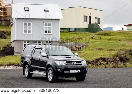 Stykkisholmur, Iceland - July 9, 2014: Black Legendary Toyota Hilux 4wd Pickup In Stykkisholmur City