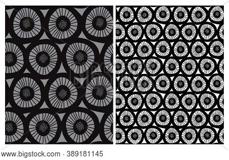 Cute Abstract Floral Seamless Vector Patterns With Hand Drawn Geometric Flowers Isolated On A White