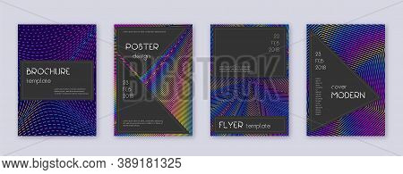 Black Brochure Design Template Set. Rainbow Abstract Lines On Dark Blue Background. Admirable Brochu