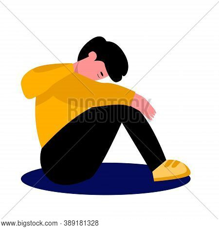 The Young Man Is Sitting With His Head Down, Sad Mood, Depression, Apathy. Sad Man