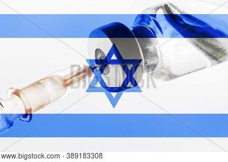 Israel Vaccination, Coronavirus, Covid-19,sars-cov-2, Israel Flag, Vaccine Vial Dose, Needle Syringe