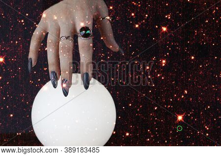 Psychic Readings And The Concept Of Clairvoyance. Fortune Telling On A Crystal Ball. Elements Of Thi