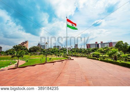 National Flag Of India At Central Park In Connaught Place District In New Delhi, India
