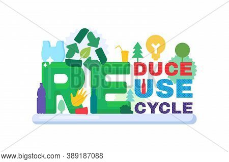 Reduce, Reuse, Recycle Banner For Ecology Concept