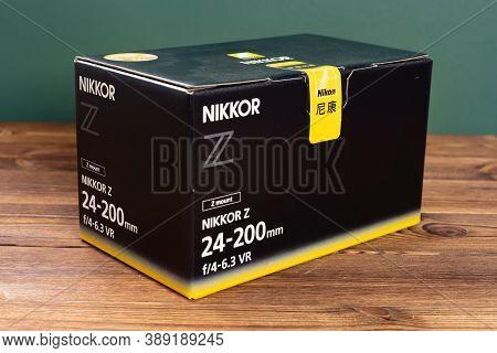 Zhongshan Guangdong China-october 6 2020:box Of A Nikon Camera Lens Of Z Mount Nikkor Z 24-200mm F4-