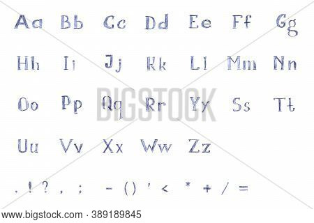 The Letters And Symbols Of The English Alphabet, Hand-drawn In Blue Ballpoint Pen. A Unique Font.