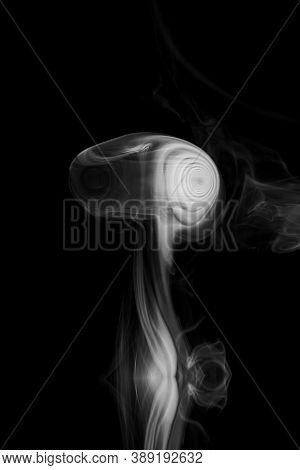 Clouds Of White Smoke On A Black Background, Movement Of Smoke On A Black Background, Clouds Of Smok