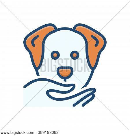 Color Illustration Icon For Obedient Compliant Dutiful Cooperative Adorable