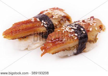 Japanese Sushi Food. Two Unagi Nigiri On White Background