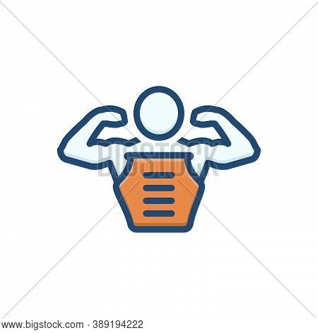 Color Illustration Icon For Pectorals Body Muscle Man Skin Abdomen Bodybuilder Strong Physique Gym