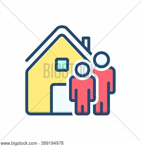 Color Illustration Icon For Ours We House Home Residence Accommodation Habitation People