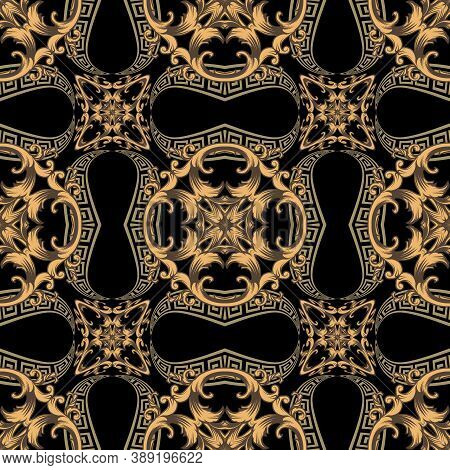 Modern Seamless Pattern. Floral Ornamental Background. Repeat Vector Greek Backdrop. Geometric Golde