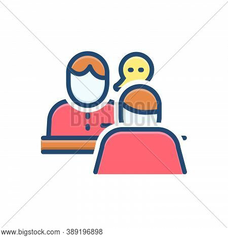 Color Illustration Icon For Consulting Consultant Opinion Advice Counsel Rede Talk Chat