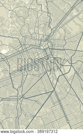 Detailed Map Of Curitiba City Administrative Area. Royalty Free Vector Illustration. Cityscape Panor