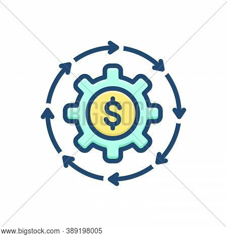 Color Illustration Icon For Money-flow Cash Recycle Abundance Currency Finance Cycle Circulate Excha