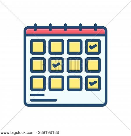 Color Illustration Icon For Schedule-planning Planification Project Progress Planning Schedule