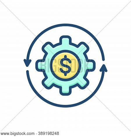 Color Illustration Icon For Transactions Money-flow Cash Recycle Abundance Currency Finance Cycle Ci