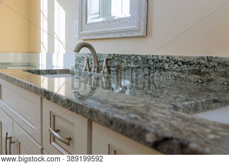 Modern Grey Marble Countertop Designer Bathroom With Sinks Bathtub On Vanity Cabinet