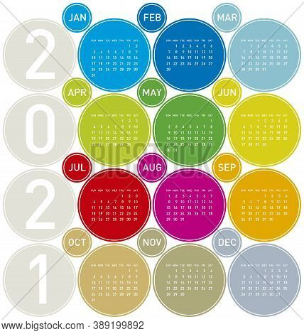 Colorful Circles Calendar For Year 2021, In Vectors