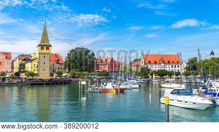 Lindau Town In Bavaria, Germany. This Old City Is Tourist Attraction Of Country South. Panorama Of H