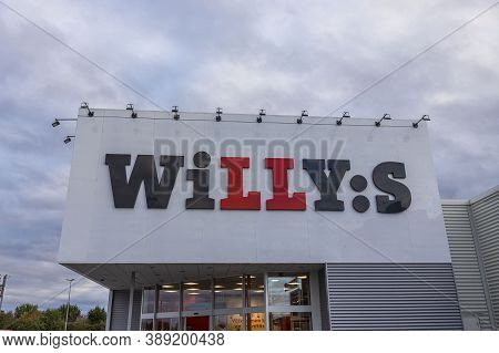 Close Up View Of Entrance In Grocery Store Willy:s. Business Concept. Uppsala. Sweden. 10.11.2020.