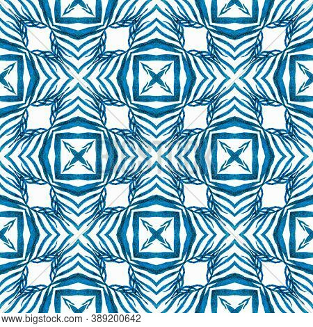 Ikat Repeating  Swimwear Design. Blue Extraordinary Boho Chic Summer Design. Textile Ready Positive
