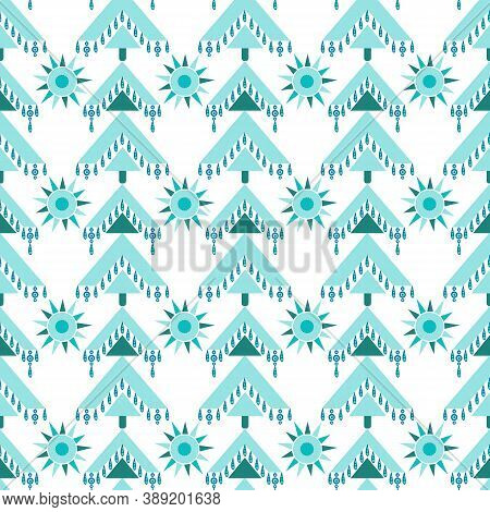 Geometric Christmas Tree And Noel Stars Seamless Pattern In Bohemian Style Isolated On White Backgro