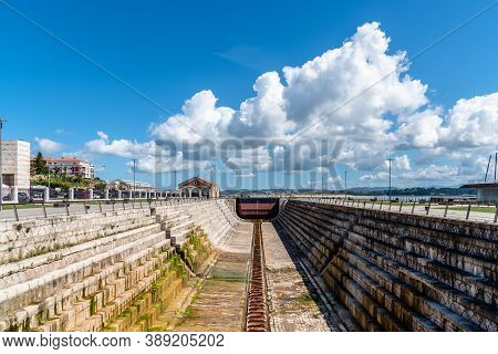 Santander, Spain - 13 September 2020: View Of Gamazo Dock, An Old Dock For The Construction Of Ships