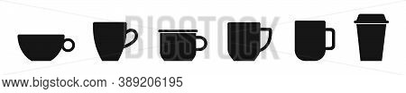 Coffee Cup Vector Icons Set Isolated On White Background. Black Coffee Mugs. Vector Templates For Mo