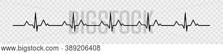 Heartbeat Pulse Vector Line Icon. Pulse Isolated On Transparent Background. Heart Beat, Cardiogram.