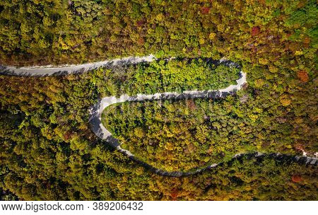 Curved Winding Road Surrounded By Forest In Autumn. Aerial View Of Curvy Road.