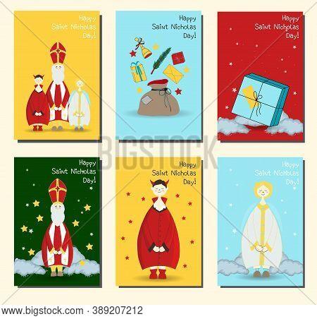 Saint Nicholas, Christian Holiday. Set Of Posters Or Banners. Postcards Set Happy Saint Nicholas Day