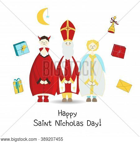 Krampus, Saint Nicholas And The Angel. Christian Holiday Saint Nicholas Day. Posters Or Banners. Car