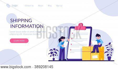 Shopping Information Website Uit. Online Retailer Website Menu. International Delivery Details, Cust