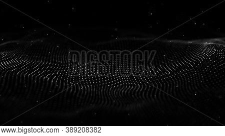 Wave 3D. Wave Of Particles. Abstract Black Geometric Background. Big Data Visualization. Data Techno