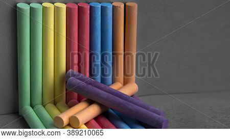 Colored Crayons On A Gray Background.on A Dark Background, Bright, Colored Crayons.rainbow Colorful