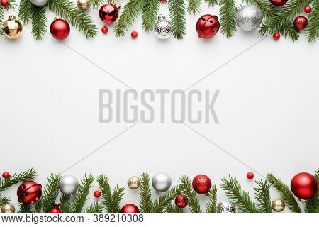 Christmas border on white background. Top view and flat lay with copy space for invitation text