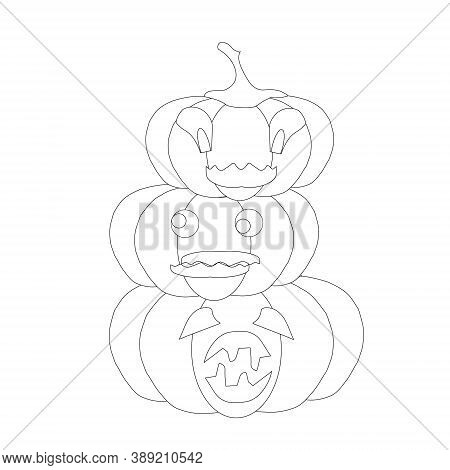 Halloween Funny Monochrome Pumpkin Emoji. Cartoons Art Design Element Object Isolated Stock Vector I