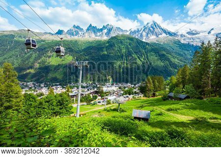 Chamonix Cable Car Aerial Panoramic View. Chamonix Mont Blanc Is A Commune And Town In South Eastern