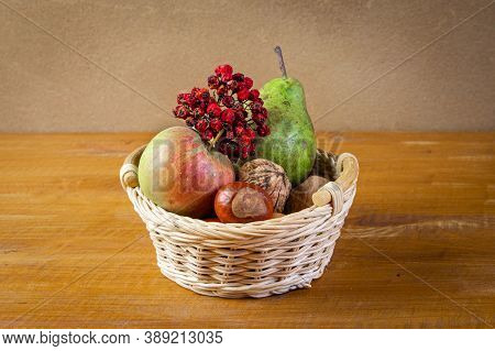 Autumn Beautiful Still Life With Small Wicker Basket Filled By Apple, Pear,sorbus Aucuparia Branch,