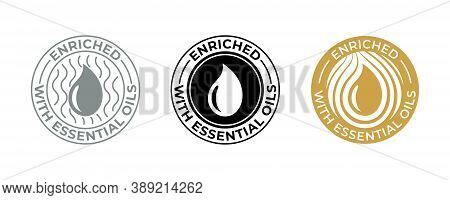 Essential Oil Drop Icon, Natural Organic Beauty Products Vector Tag. Enriched With Essential Oils, A