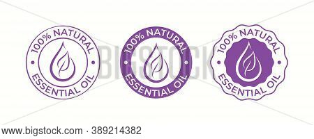 Essential Oil Drop And Leaf Icon For Beauty And Skincare Natural Product Certificate Tag. 100 Percen