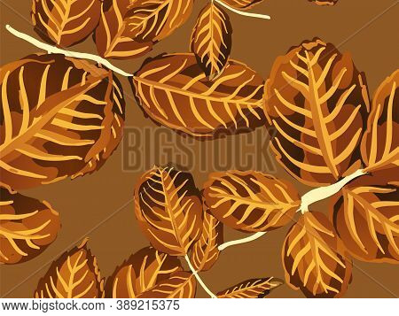 Repeated Spring Peony Wallpaper. Yellow Gold Summer Textile Design. Rose Leaves Seamless Pattern. Pa