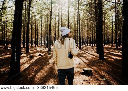 Caucasian Male Photographer Walking Through Luscious Woodlands