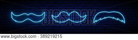 Set Of 3 Blue Neon Mustache Icons. Glowing Neon Mustache Sign On Dark Brick Wall Background. Mustach