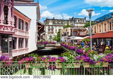 Chamonix, France - July 18, 2019: Chamonix Mont Blanc City Centre, It Is A Commune And Town In South