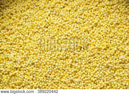 Washed Millet Groats, Ingredient For Making A Gluten-free Vegan Or Vegetarian Dish, Top View Close U