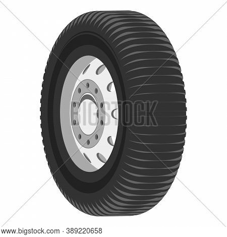 Car Wheel Grayscale Isometry 3d Illustration Isolated On White Background. Vector  In Flat Style.